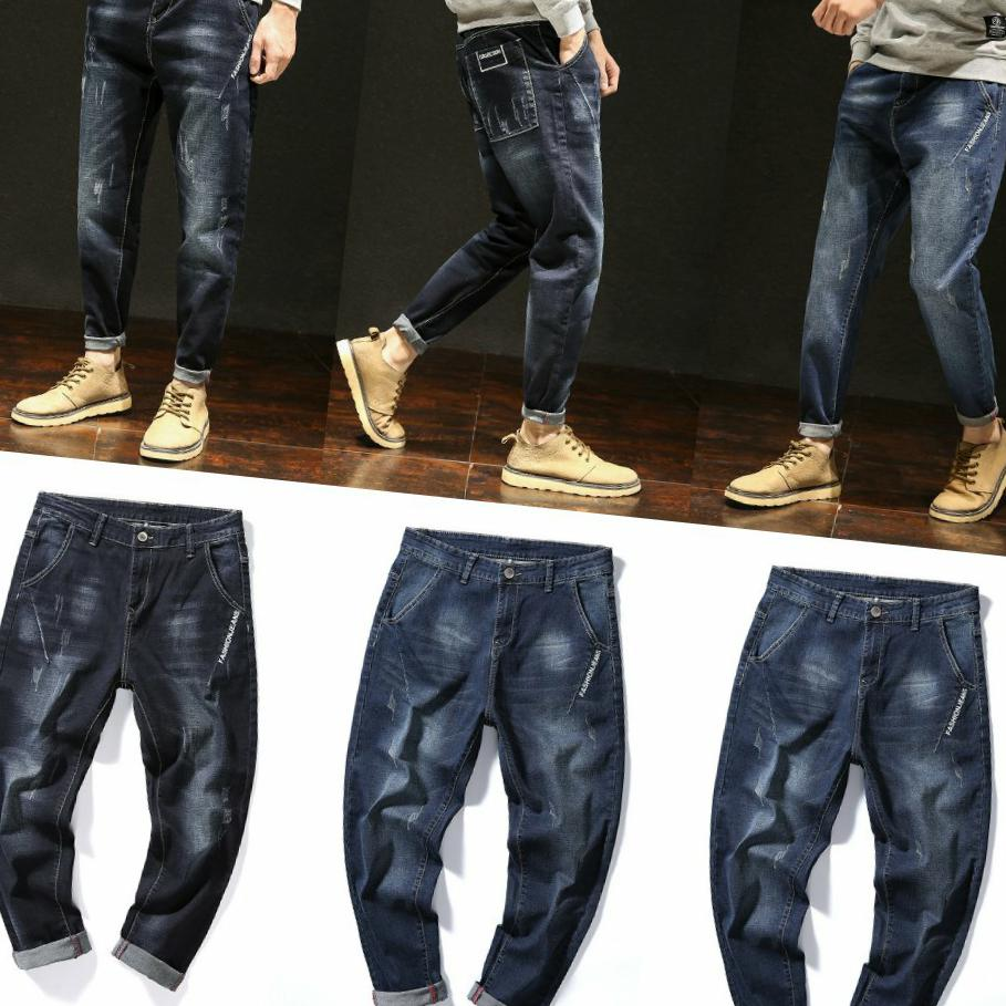 Black stretch mens trousers plus big size loose leg pants Harem Pants tapered pants mid waist jeans