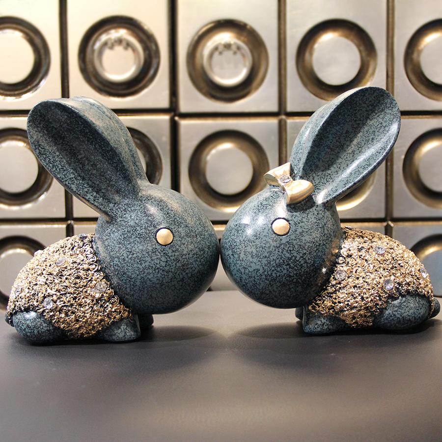 客厅创意可爱情侣树脂兔子摆件招财家居装饰品工艺品风水开运摆设