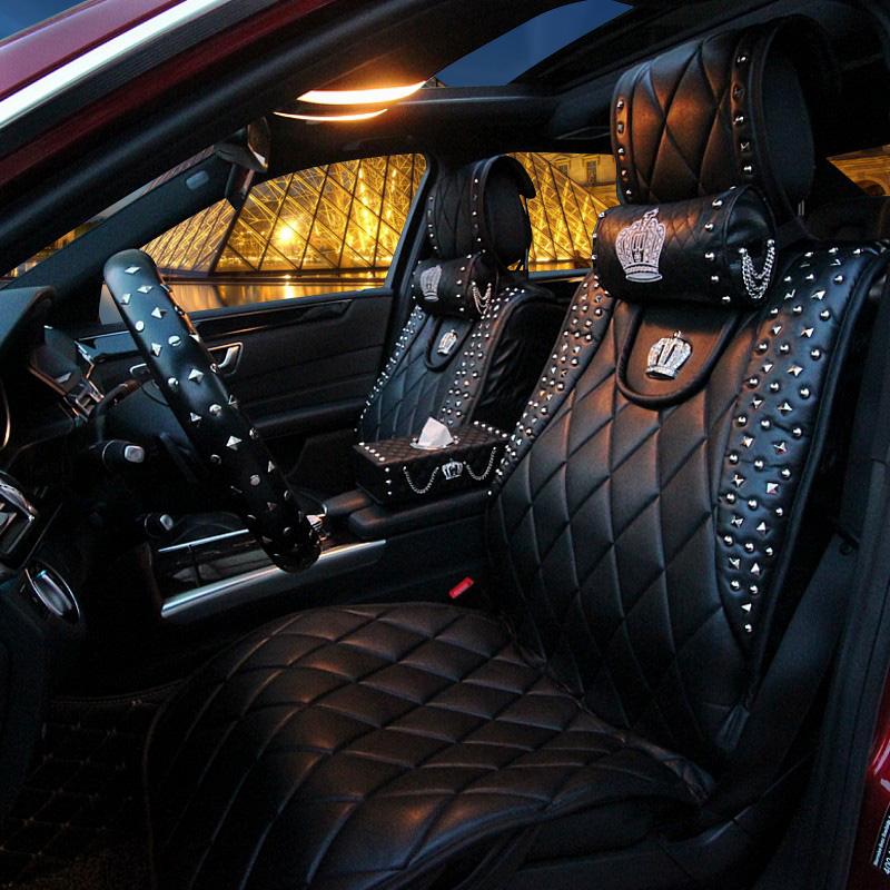 普晶奔馳寶馬座墊鉚釘汽車坐墊英倫 朋克風四季車用座墊車墊女