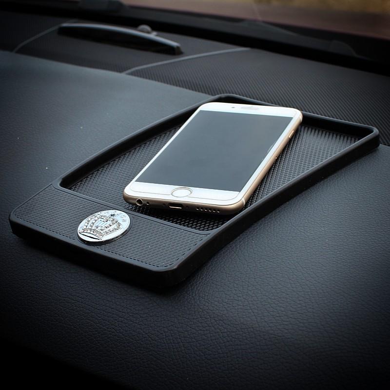普晶汽車用品水鑽鑲鑽皇冠多 車載車用手機導航架防滑墊大號女