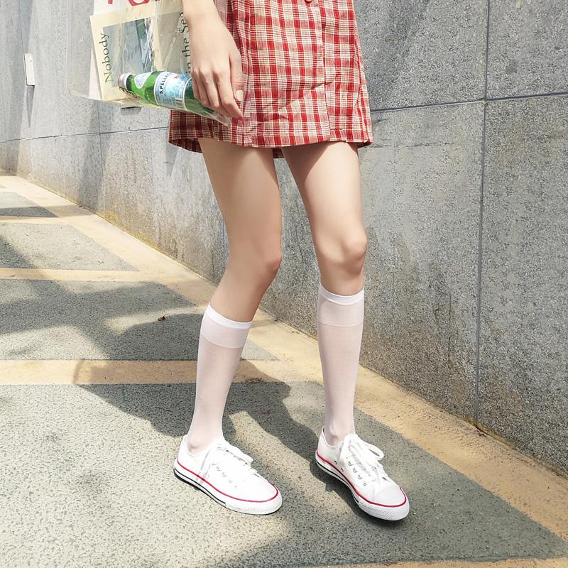 白色小腿袜薄款夏季女中筒丝袜日系jk过膝长筒秋季ins街头潮袜子10-22新券