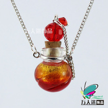 Manufacturers wholesale glass essence oil bottle necklace colored glaze necklace Wholesale aromatherapy bottles of 15 x19 ball discus the Milky Way