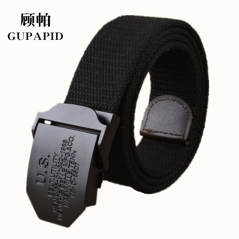 Black US mens canvas belt outdoor leisure youth knitting trouser belt fashionable mens personalized lengthened and thickened belt
