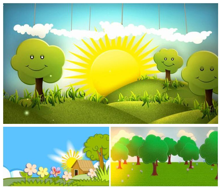 背景には、子供の日の漫画、太陽、緑の木の背景を再生します。