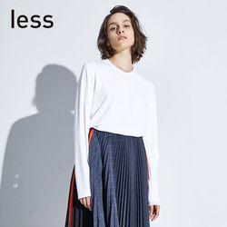 less2019春季新款单侧贴片字母设计压线长袖套头T恤281601210