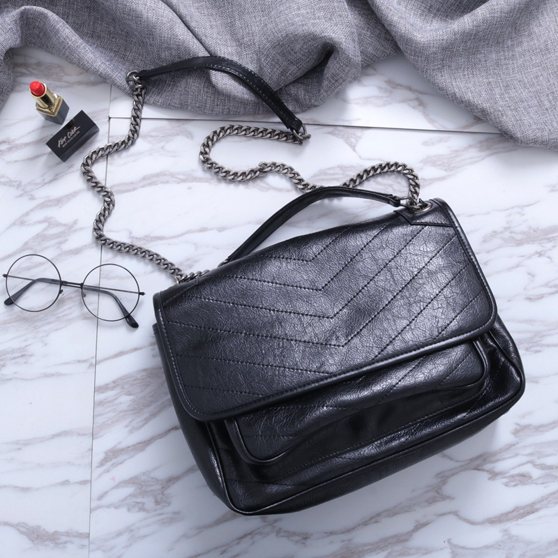 Niki Guangzhou leather womens bag 2018 Europe and America new large capacity Chain Leather Fashion Yanglin womens bag