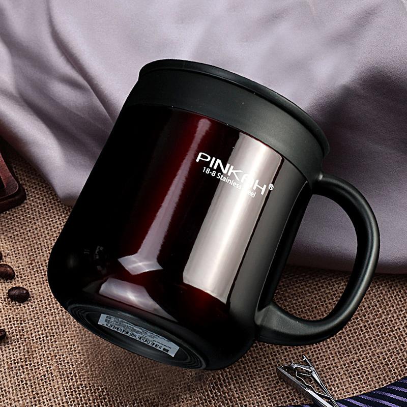 品家家品304办公室保温杯带手柄马克杯手把咖啡水杯商务简约带盖
