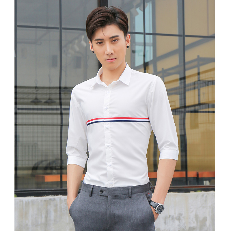 Summer half sleeve white shirt middle sleeve mens casual Korean slim fit British fashion TB half sleeve shirt fashion