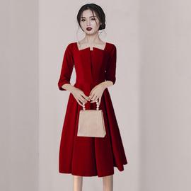 新娘敬酒服高贵结婚回门连衣裙秋冬平时可穿2021新款气质小礼服