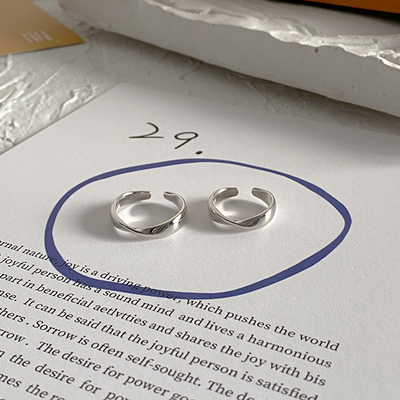 ins Korea cold wind minimalist couple ring niche design Mobius 925 sterling silver open ring