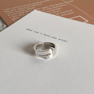 ins original asymmetric design soul mate sterling silver ring vintage niche minimalist ring open ring