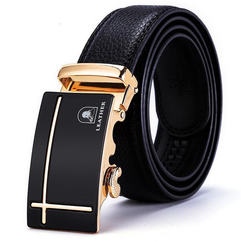 Laoren automatic buckle mens belt leather casual Korean youth belt middle aged business versatile student belt