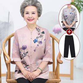 妈妈夏装真丝上衣中老年人女太太桑蚕丝老人衣服秋装奶奶老人服装图片