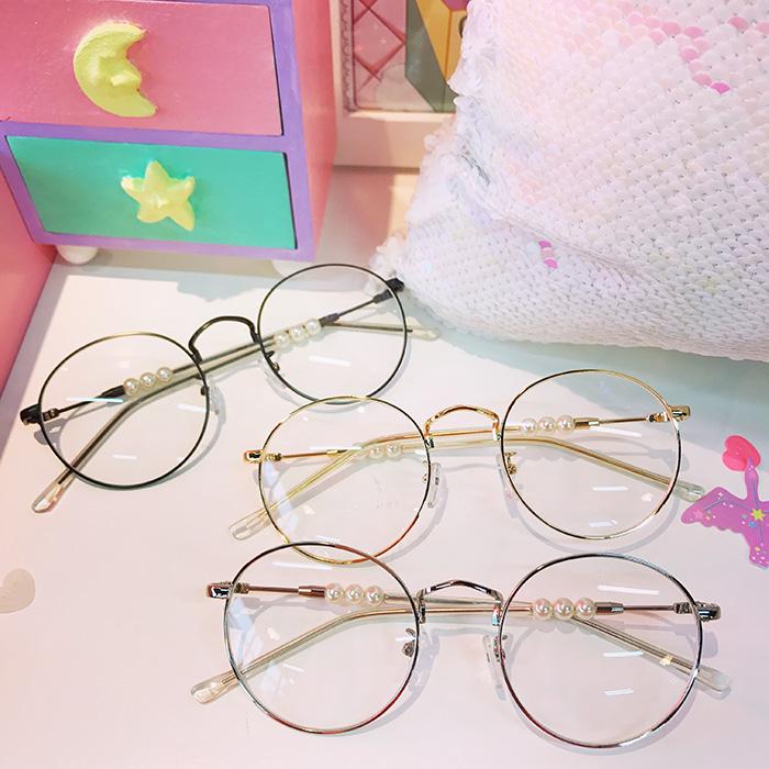 Девушка сердце жемчужина очки полка металл круглая коробка очки полка женщина ретро ясно, зеркало близорукость очки студент очки
