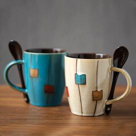 创意陶瓷杯复古个性潮流马克杯日式简约杯子咖啡杯家用水杯带盖勺