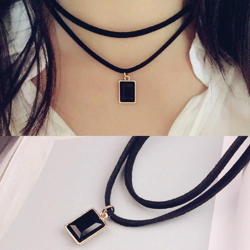 Japanese and Korean double velvet leather square Diamond Black Gem clavicle chain female Harajuku personality fashion neck chain collar short neckband Necklace