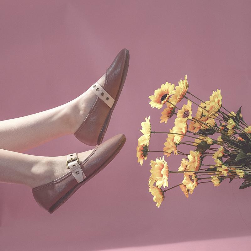 赫本玛丽珍鞋女复古一字扣2020新款浅口方头平底单鞋女软皮 软底