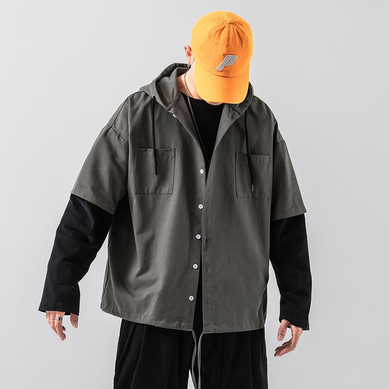 20/秋冬 连帽夹克拼接袖水洗复古潮牌男外套 无影墙 JK758 P65