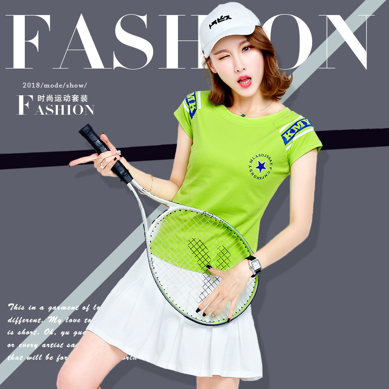 网球服女套装2019新款大码两件套纯棉跑步服女夏短裙休闲运动套装