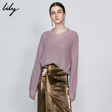 Lily 2009 Autumn New Women's Wear Temperament Sequins Loose V-collar Leisure Sweater Long Sleeve Wool Knitted Shirt 8968