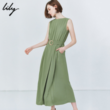 Lily 2019 Summer New Avocado Green Sleeveless Slim Wide-legged Pants for Women 119250C7570