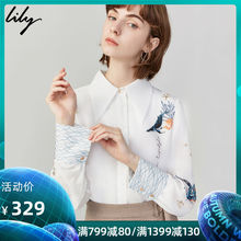 Lily Fall 2019 New Women's Wear Temperament Orientation Printing Loose Straight Cylinder Single-row Button Long-sleeved Shirt 4918