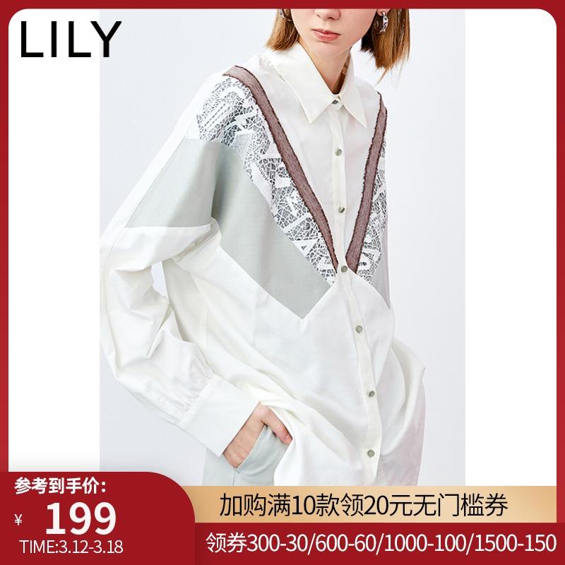 lily新款女装气质蕾丝花边拼接衬衫