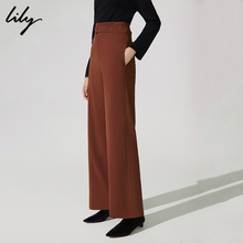 Lily Winter's new women's dress is handsome, pure color, high waist, slim, wide-legged pants, straight pants 118400C5106