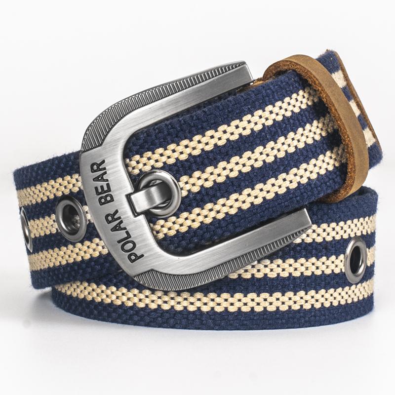 Polar bear casual pin buckle canvas belt young man Korean fashion belt military training Jeans Belt