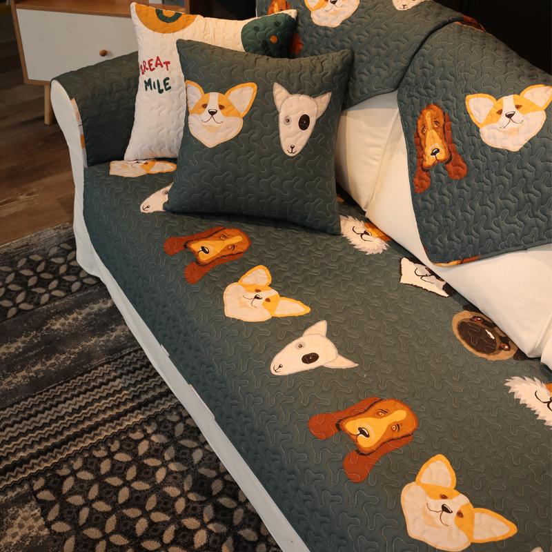 沙发垫四季北欧防滑布艺纯棉罩盖巾