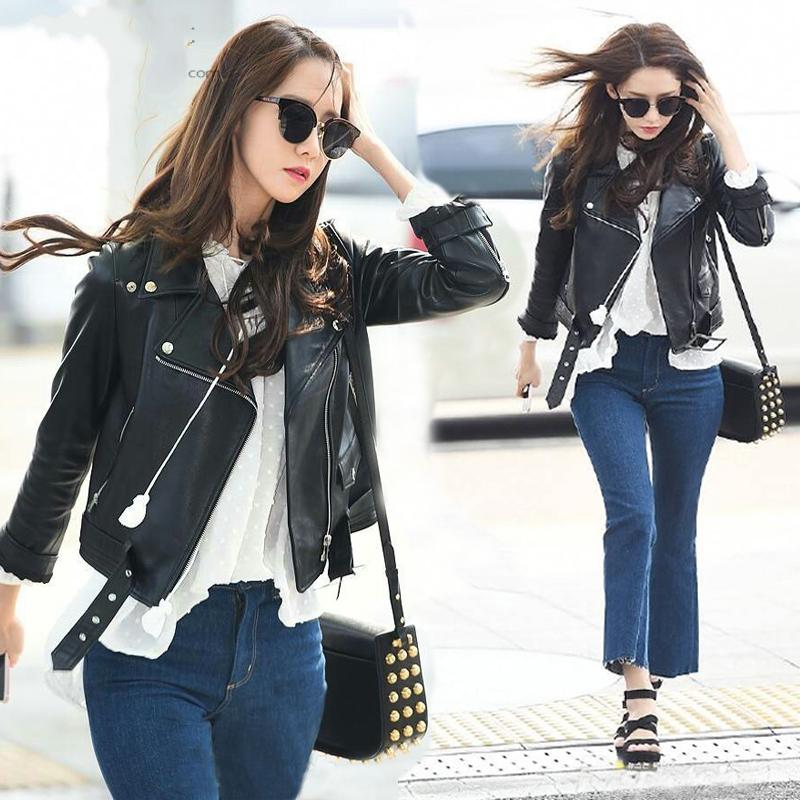 春秋林允儿明星同款机车皮衣女学生韩版修身显瘦短款小外套皮夹克