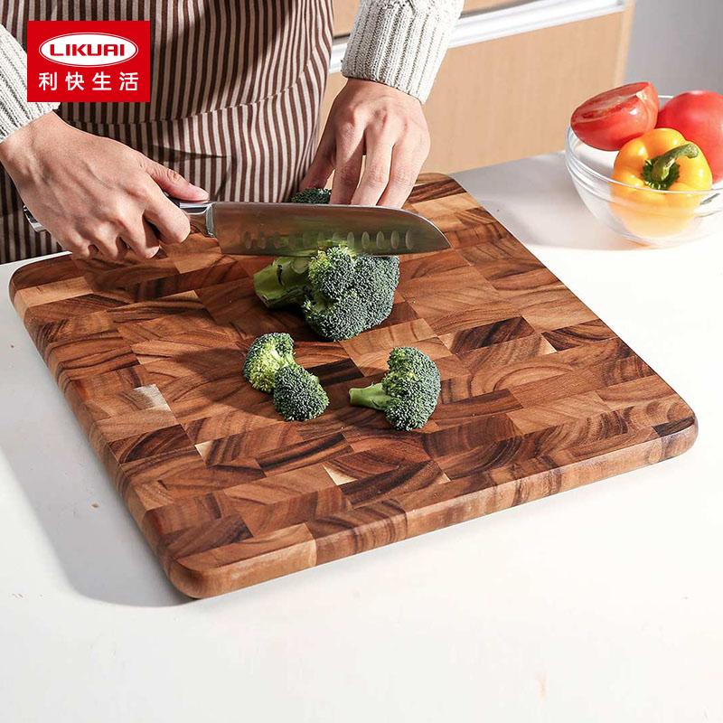 利快菜板泰国进口LC相思木案板圆形长方形棋格砧板实木案板
