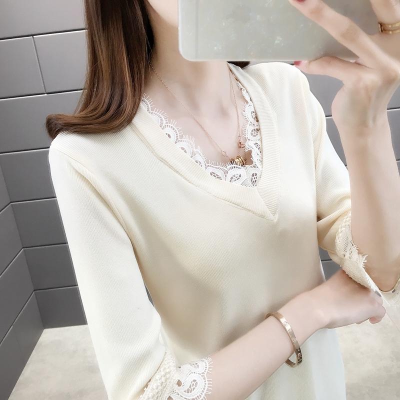冰丝针织衫女蕾丝边套头2020年春装显卡七分袖小衫女士春夏上衣潮
