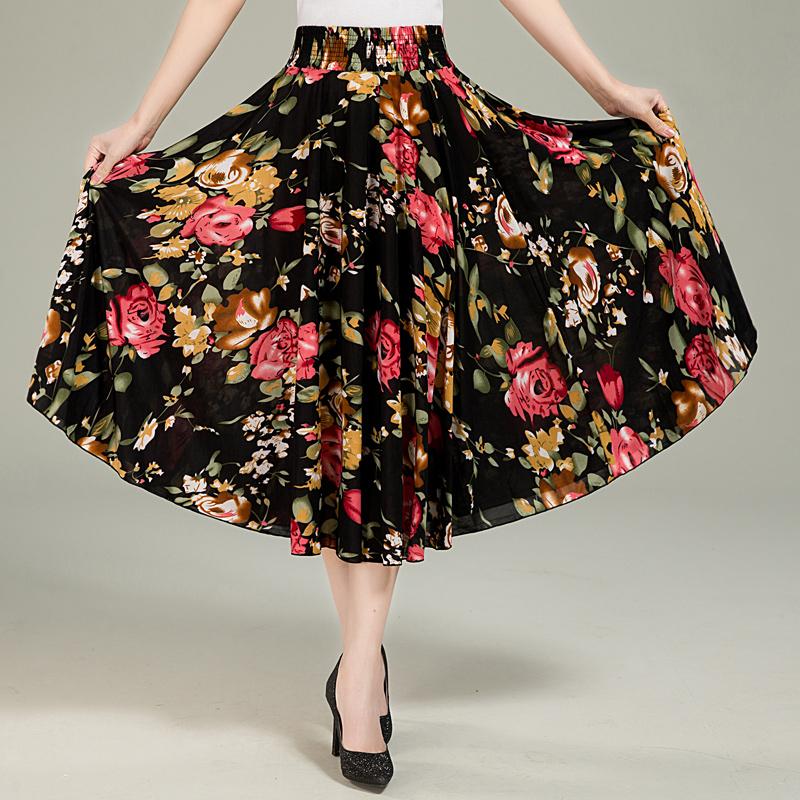 中老年人半身裙夏季中年女装冰丝裙长裙大码妈妈装松紧腰半截裙子