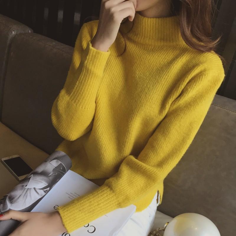 7094秋冬新款韩版开叉学生半高领套头毛衣女短款宽松针织衫打底衫