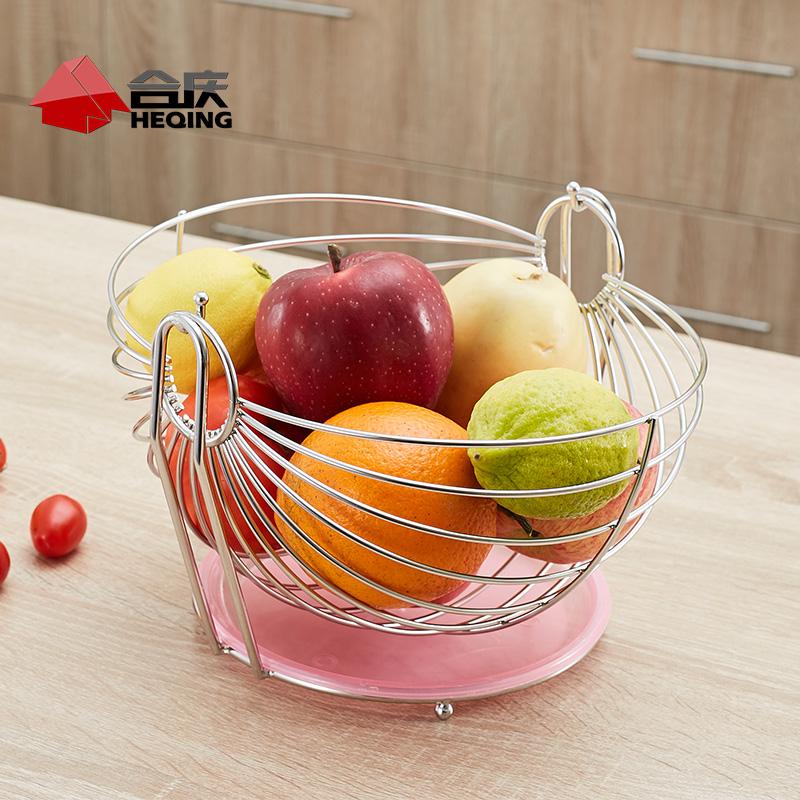 合慶大號不鏽鋼果籃歐式水果盤宜家 搖籃果盆置物架客廳居家品