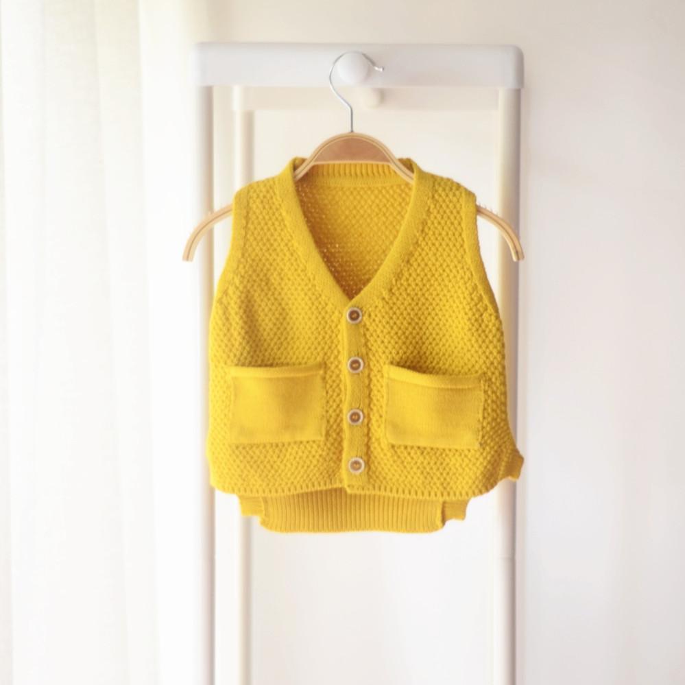 儿童毛衣背心女宝宝洋气毛线针织马甲开衫女童男童毛衣坎肩秋