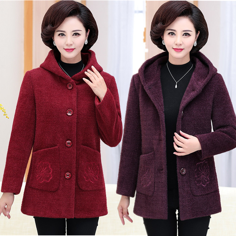 Middle aged moms 2020 new hooded tweed coat autumn and winter womens coat imitation mink woollen top