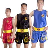武术儿童服装 训练泰拳男女短裤 子 九段龙套装 散打衣服拳击服搏击裤