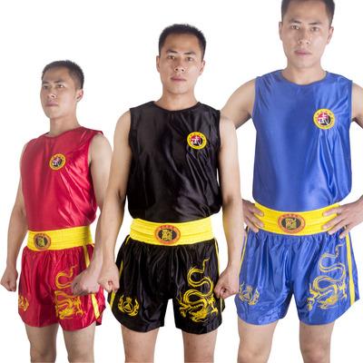 九段龙套装散打衣服拳击服搏击裤武术儿童服装训练泰拳男女短裤子