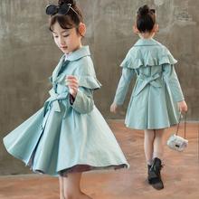 韩版 中长款 时髦洋气外套小女孩潮上衣 女童风衣外套春秋装 2019新款