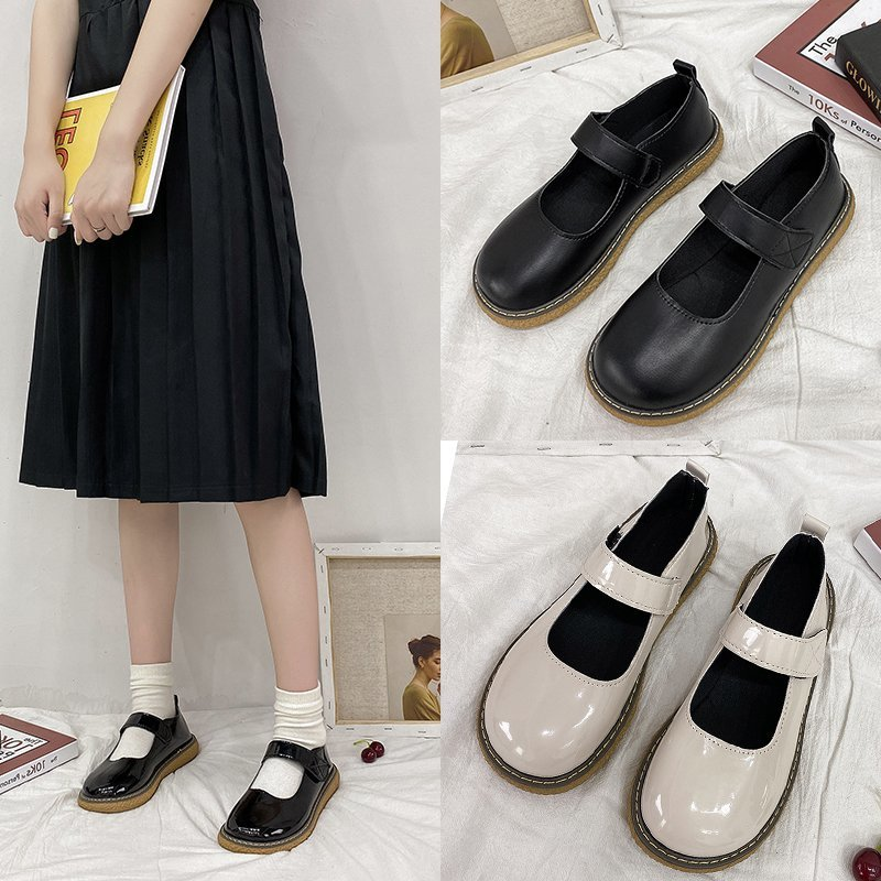 Big toe shoes female Japanese cute round head small leather shoes black soft sister Lolita thick sole baby single shoes Miss Chen