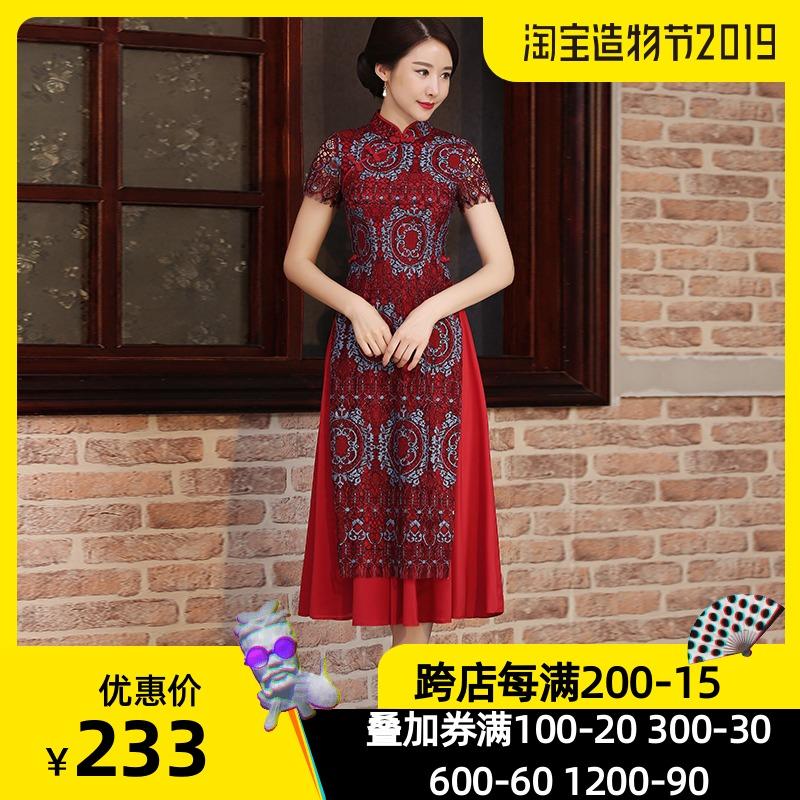 2019夏季新款日常妈妈礼服改良连衣裙中长款年轻奥黛旗袍越南正宗