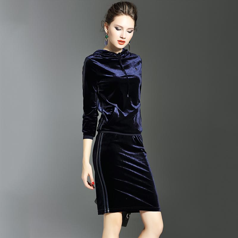 2019秋冬新款女装长袖两件套修身显瘦包臀裙休闲连帽套装裙女