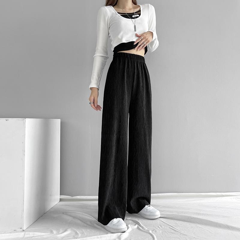 实拍现货黑色水波纹阔腿裤子宽松直筒秋冬厚款高腰垂感显瘦休闲裤