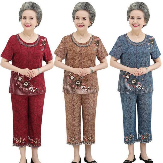 奶奶夏装短袖套装中老年人女装妈妈t恤老人冰丝两件套70多岁太太