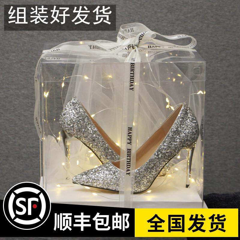 送闺蜜成人礼高跟鞋女2021年新款学生十八岁水晶鞋高跟细跟成年18
