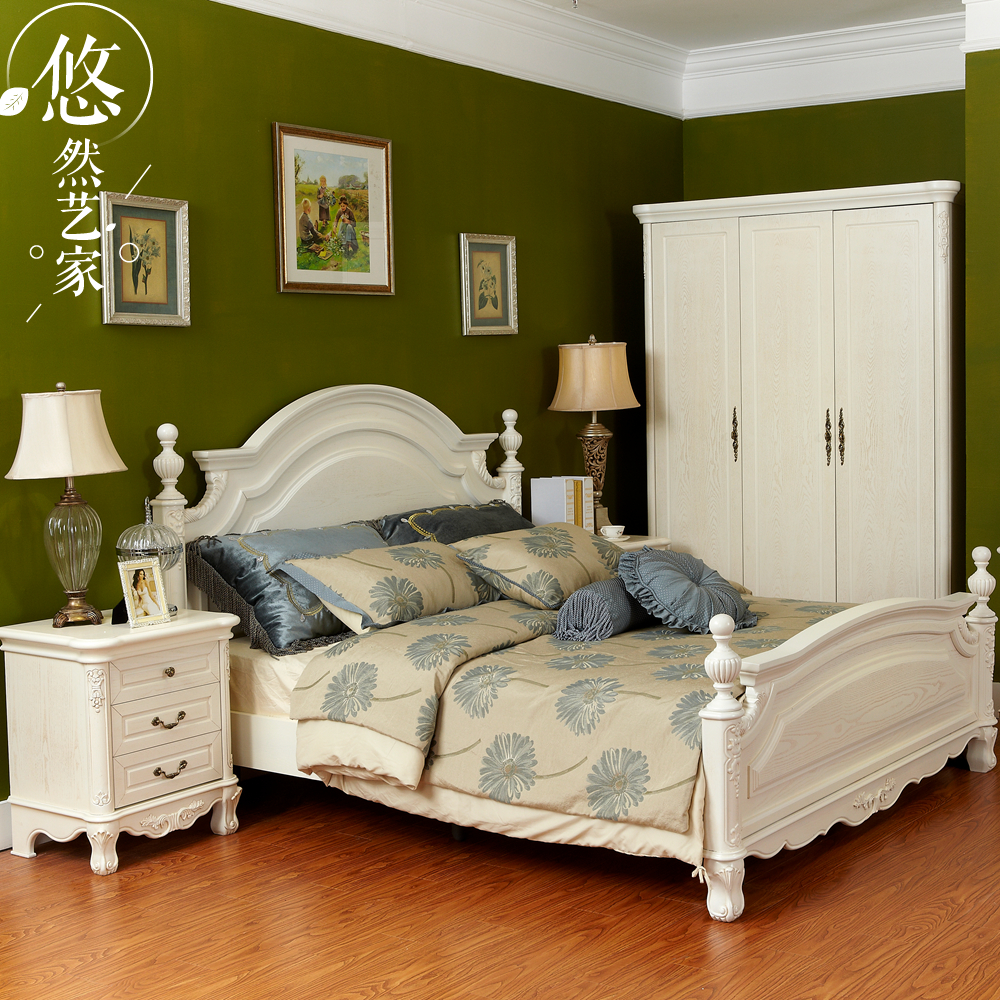 European bed solid wood double bed 1.8 m 1.5 white princess bed rural Korean modern marriage bed French simple European bed
