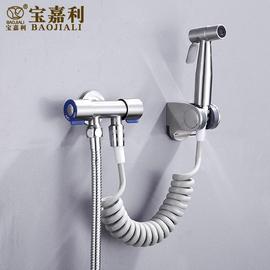 浴室304不锈钢一进二出角阀 卫生间厕所多功能妇洗器伸缩清洗喷枪