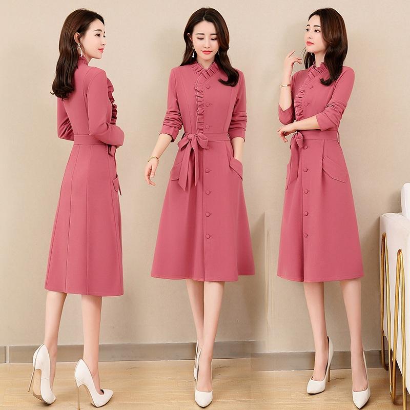 秋季长袖连衣裙2020新款韩版秋冬洋气过膝宽松显瘦长裙